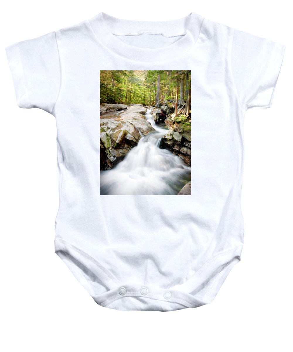 Waterfall Baby Onesie featuring the photograph White Water by Greg Fortier