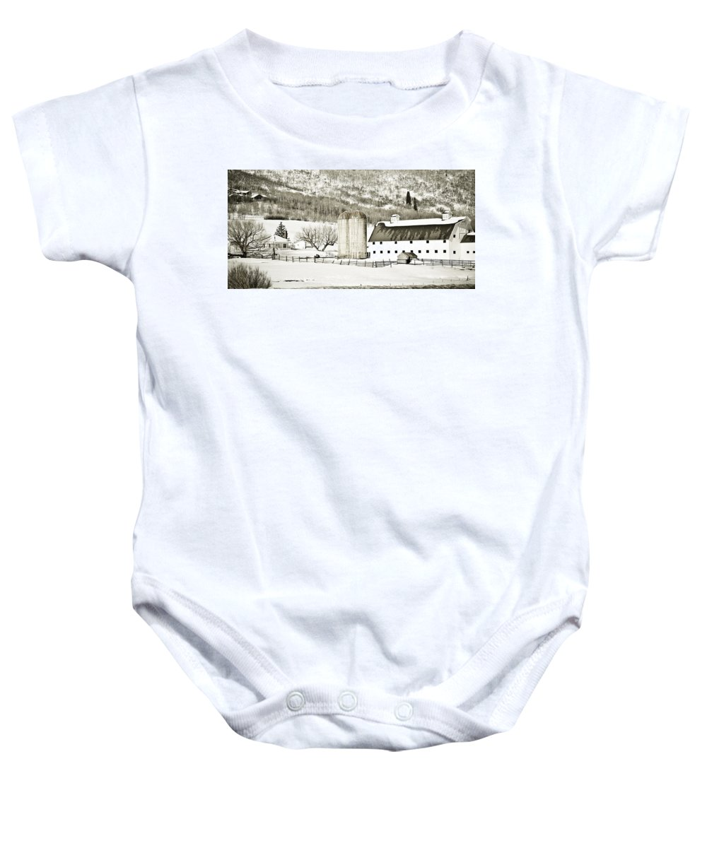 Winter Baby Onesie featuring the photograph Winter Barn 3 by Marilyn Hunt