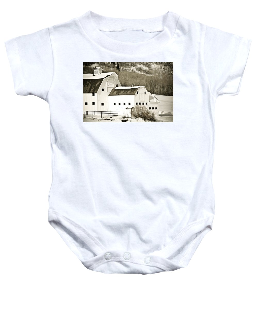 Winter Baby Onesie featuring the photograph Winter Barn 4 by Marilyn Hunt