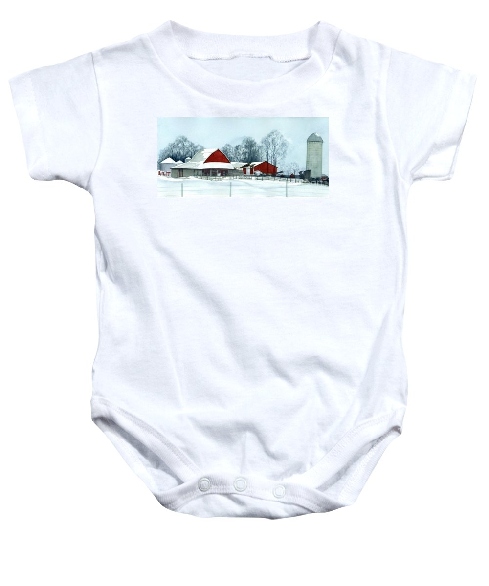 Watercolor Barns Baby Onesie featuring the painting Winter Respite In The Heartland by Barbara Jewell