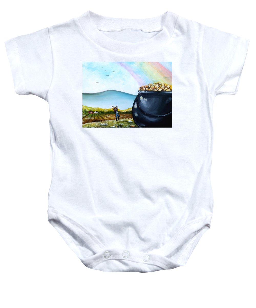 St. Patrick's Day Baby Onesie featuring the painting Woo This Must Be My Lucky Day by Shana Rowe Jackson