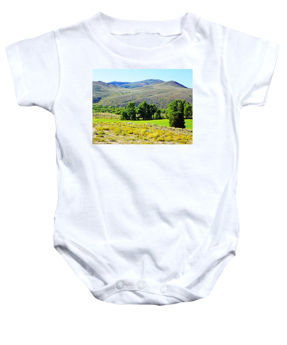 Expressive Baby Onesie featuring the photograph Wyoming Landscape by Lenore Senior