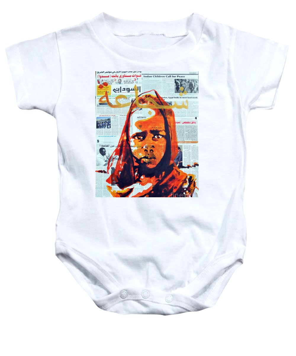Girl Baby Onesie featuring the painting X-ray by Martina Anagnostou