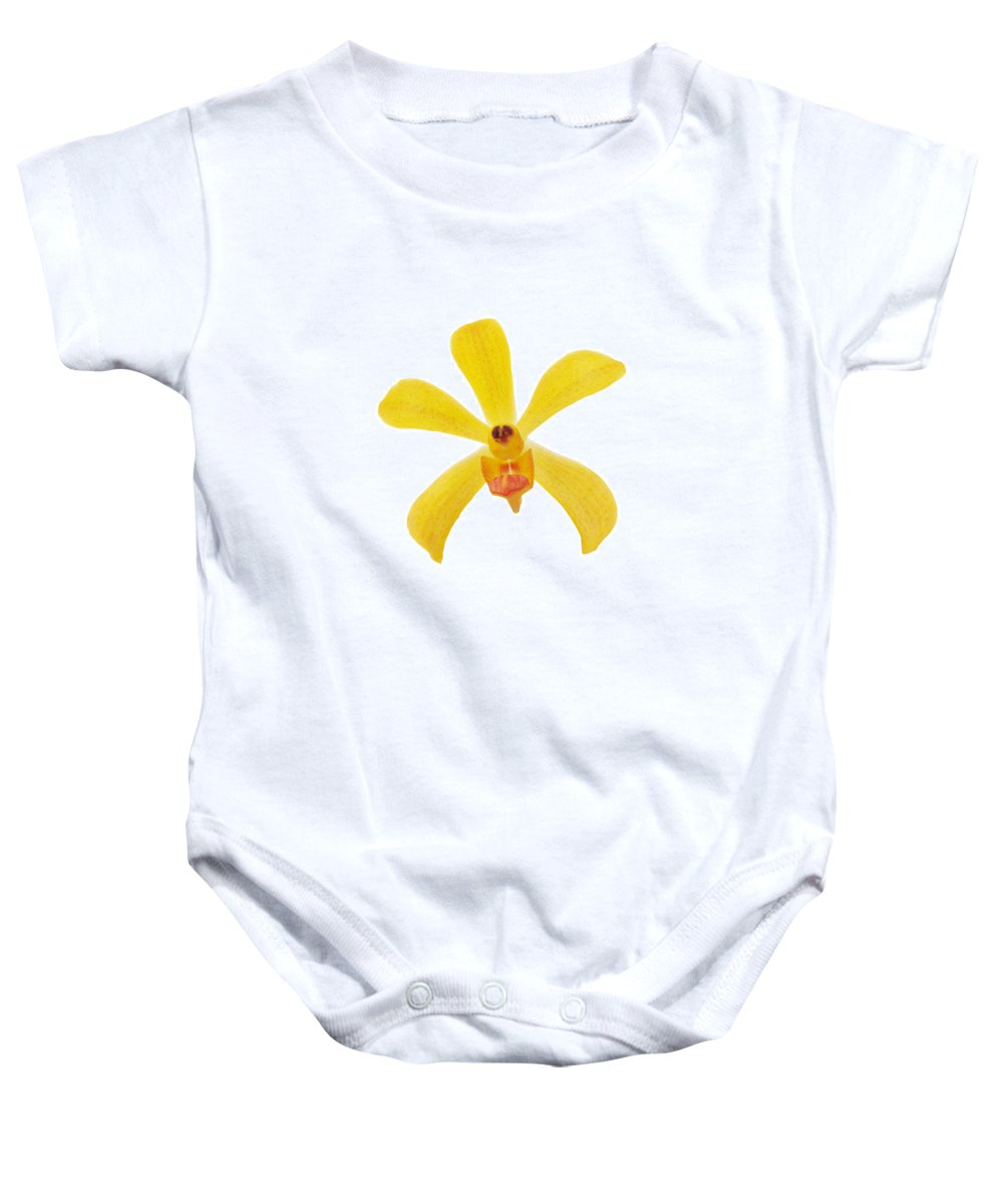 Spa-treatment Baby Onesie featuring the photograph Yellow Orchid by Atiketta Sangasaeng