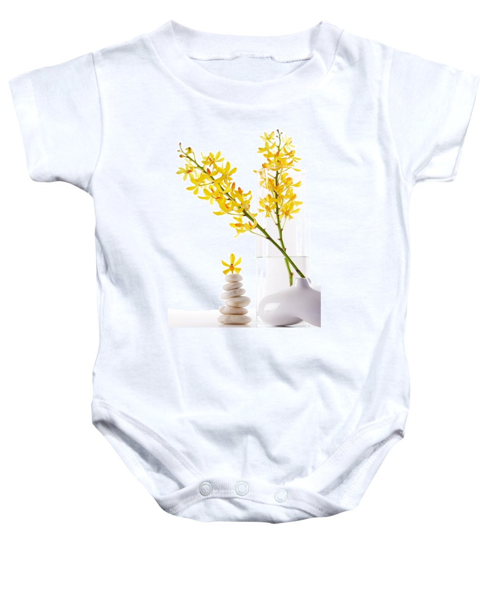 Spa-treatment Baby Onesie featuring the photograph Yellow Orchid Bunchs by Atiketta Sangasaeng