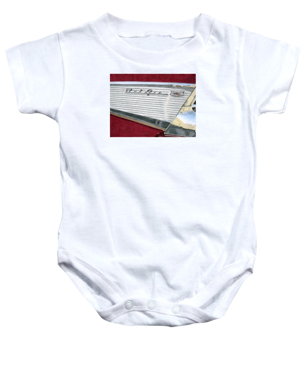 Classic Baby Onesie featuring the drawing 1957 Chevrolet Bel Air Convertible by Rob De Vries