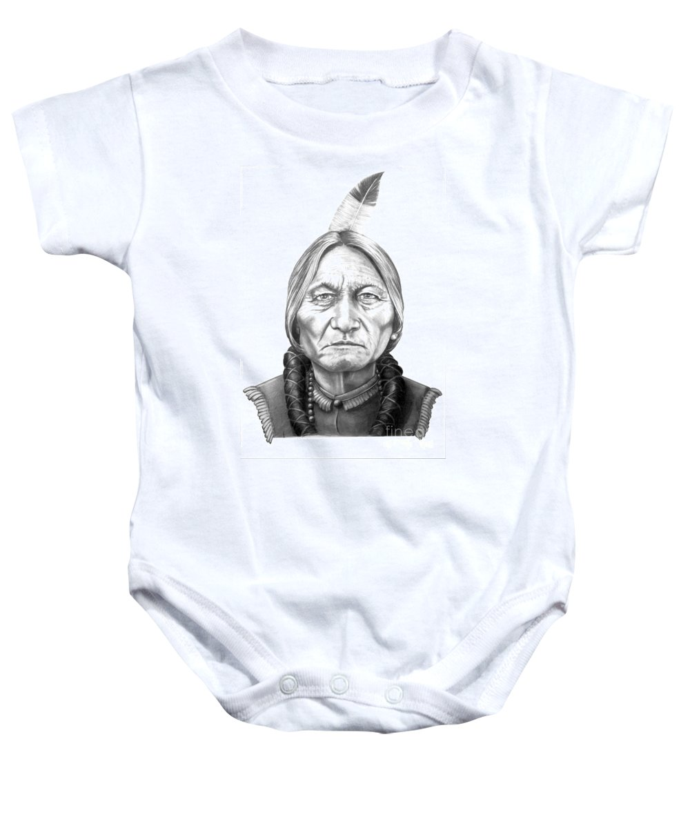 Portrait Baby Onesie featuring the drawing Chief Sitting Bull by Murphy Elliott