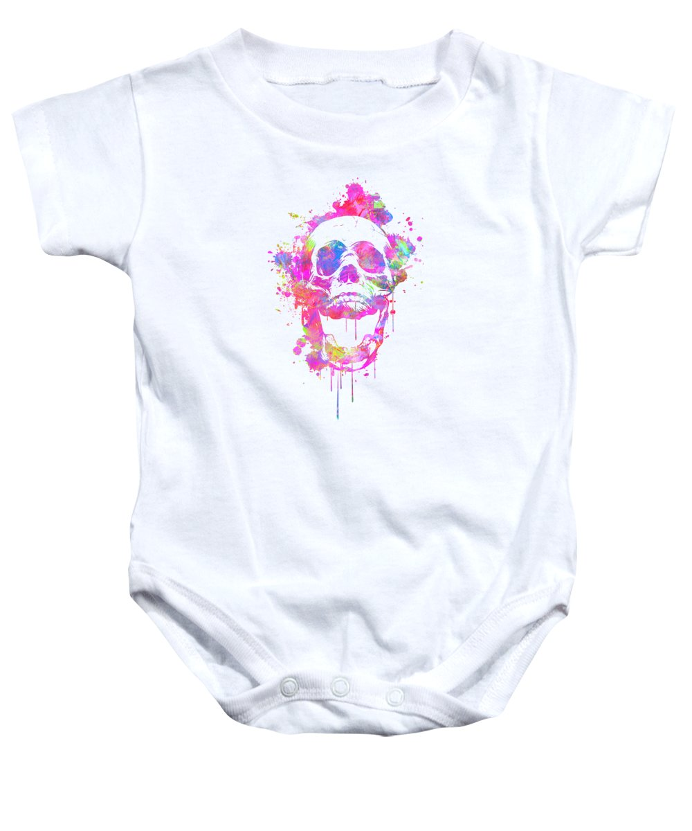 Illusion Baby Onesie featuring the digital art Cool and Trendy Pink Watercolor Skull by Philipp Rietz