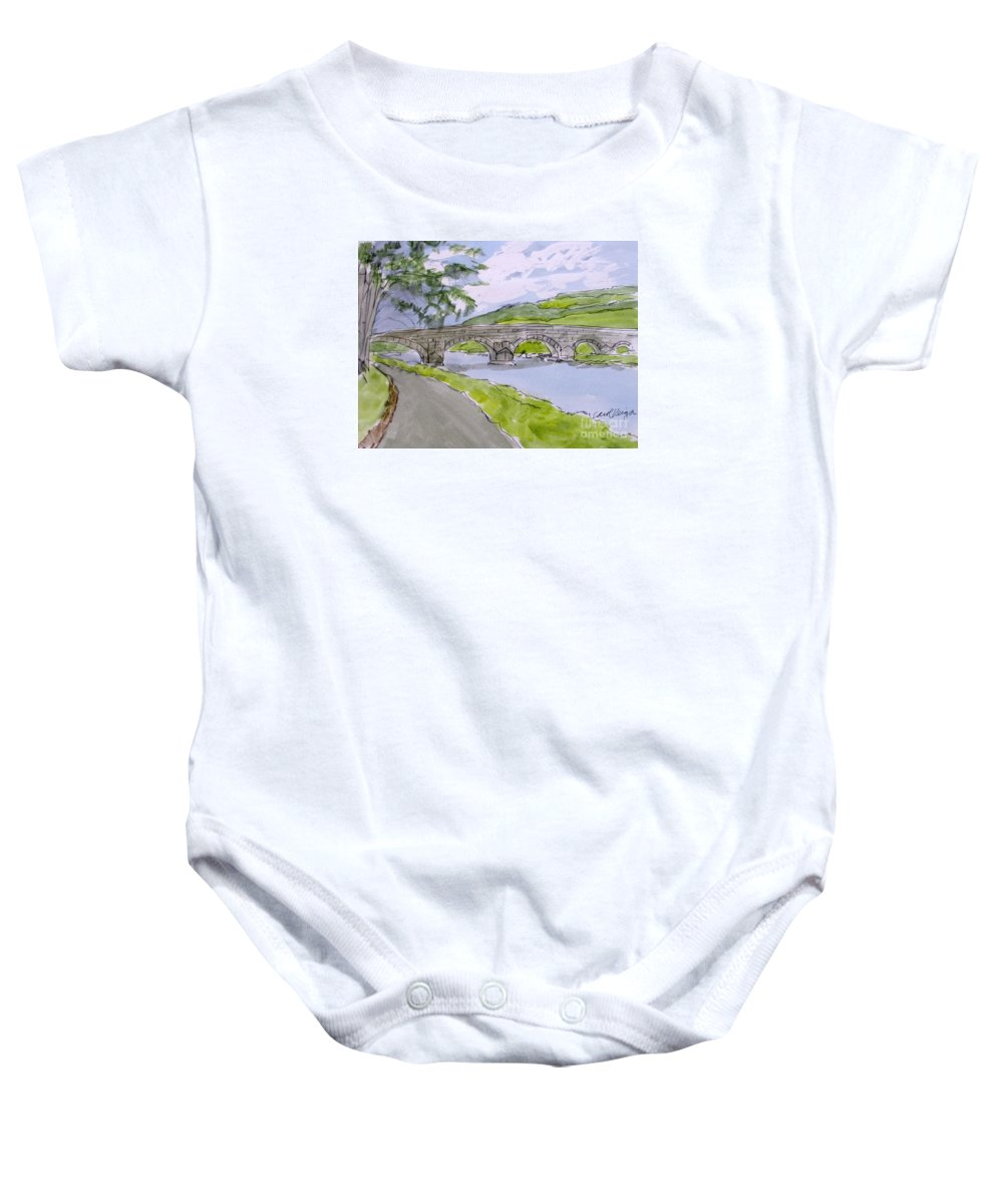 Ferry House Bridge On The River Suir Baby Onesie featuring the drawing Ferry House Bridge by Carol Veiga