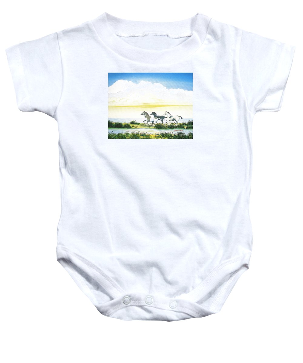 Chincoteague Baby Onesie featuring the painting Indian Ponies by Jerome Stumphauzer