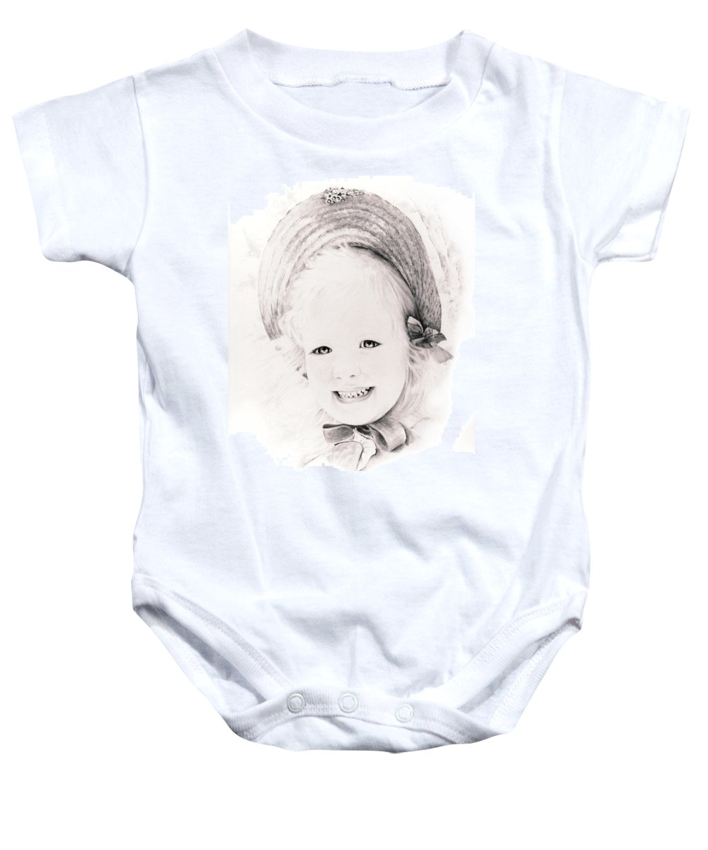Portrait Baby Onesie featuring the drawing  Trudy by Rachel Christine Nowicki