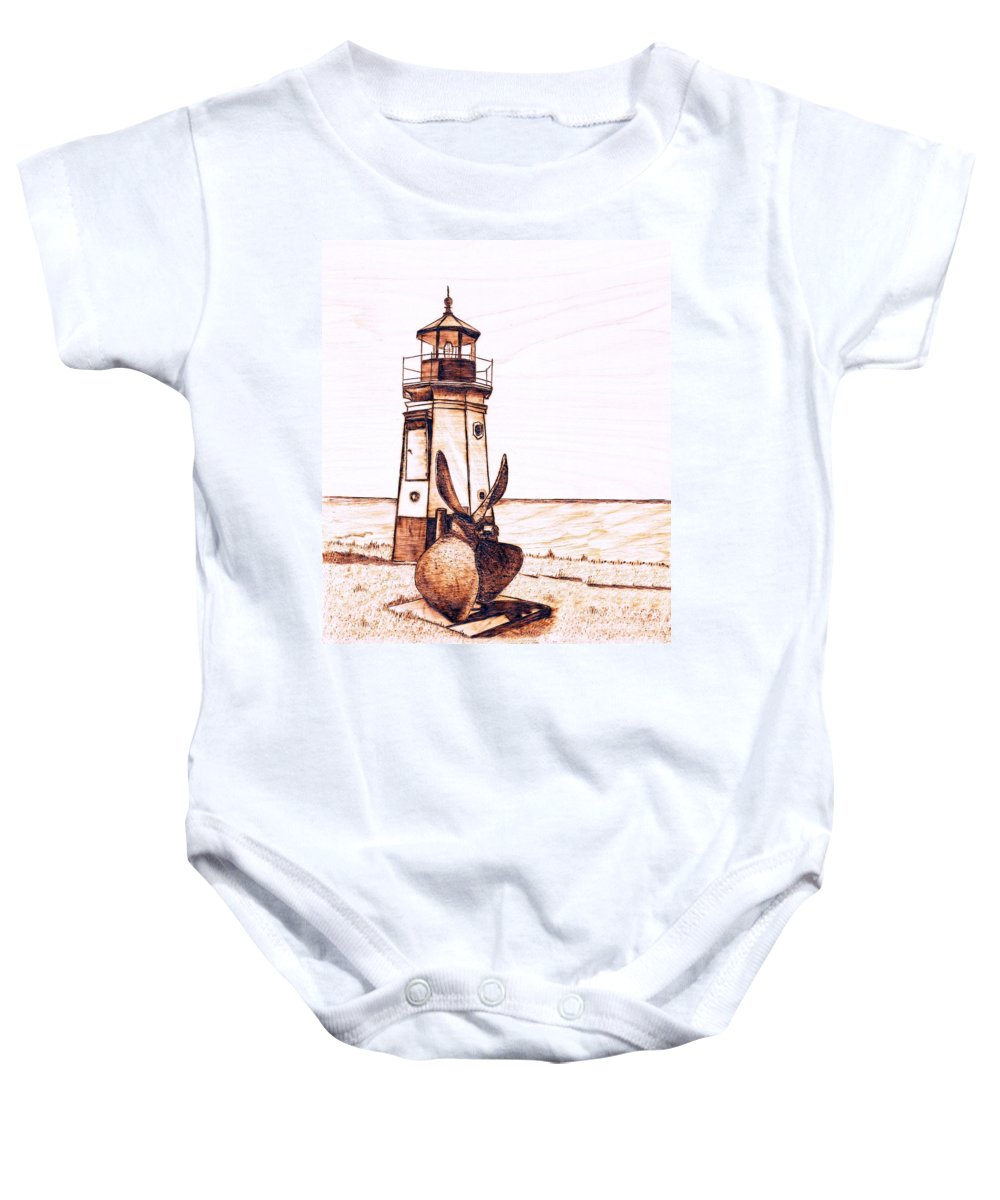 Lighthouse Baby Onesie featuring the pyrography Vermilion Lighthouse by Danette Smith