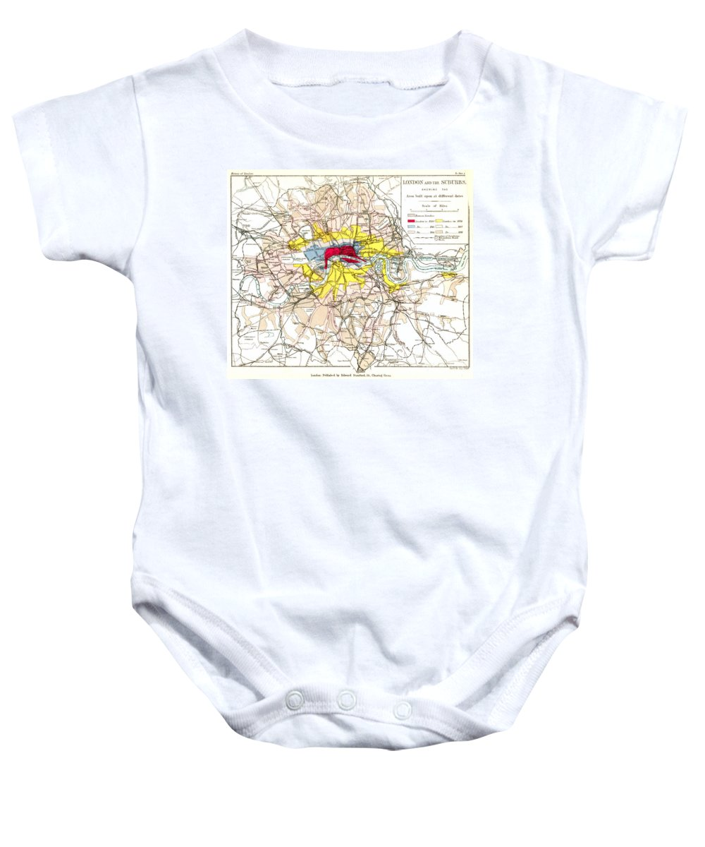 1881 Baby Onesie featuring the painting Map Of London, 1881 by Granger