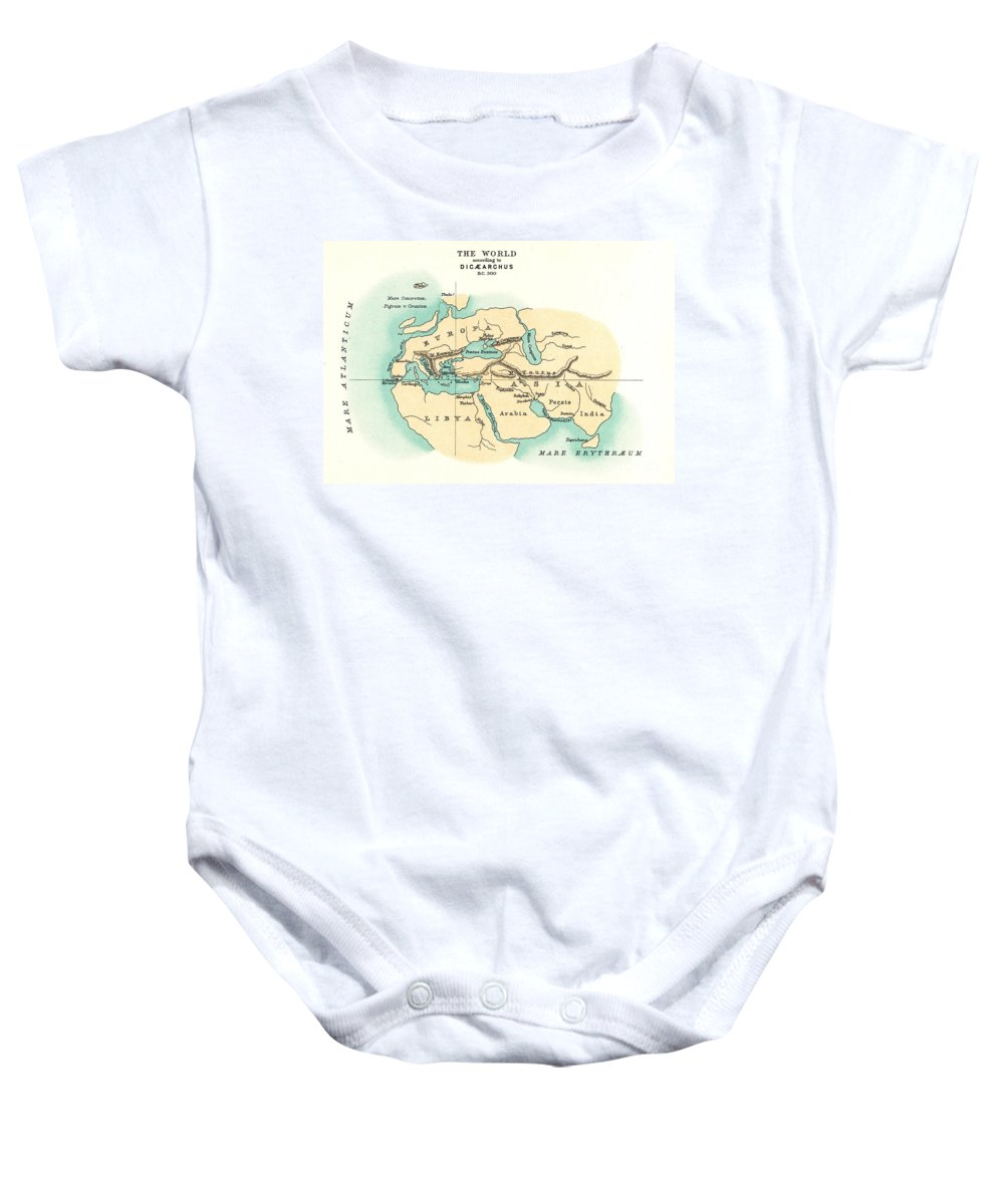 300 B.c. Baby Onesie featuring the painting World Map, C300 B.c by Granger