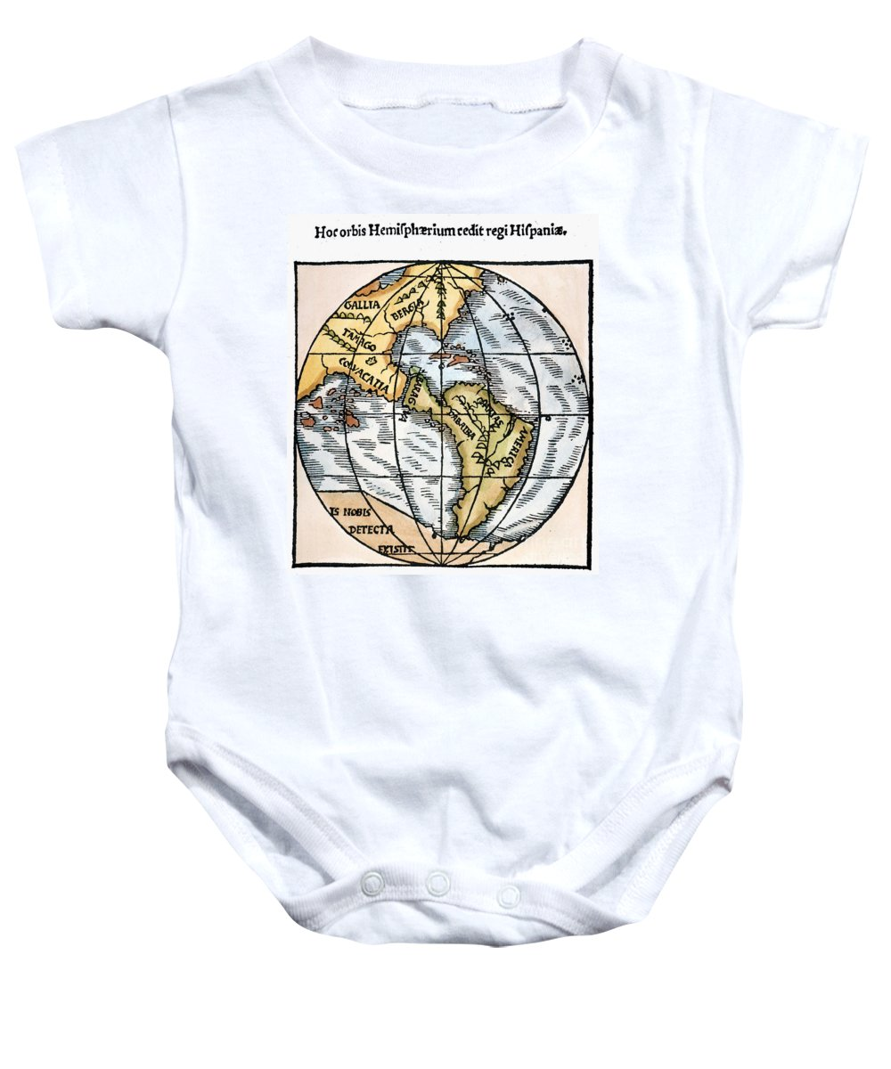1529 Baby Onesie featuring the painting World Map, 1529 by Granger