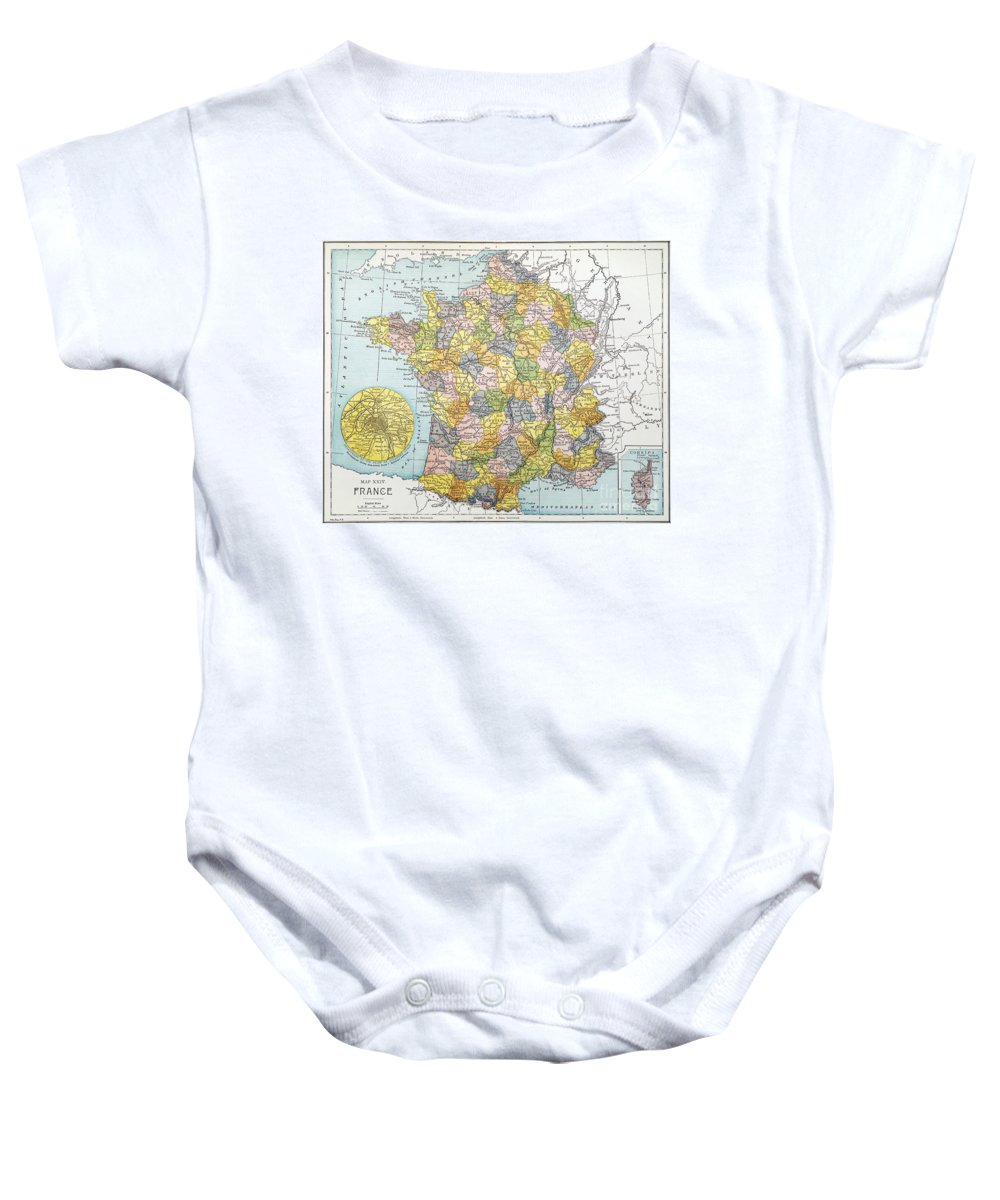 1900 Baby Onesie featuring the painting Map Of France, C1900 by Granger