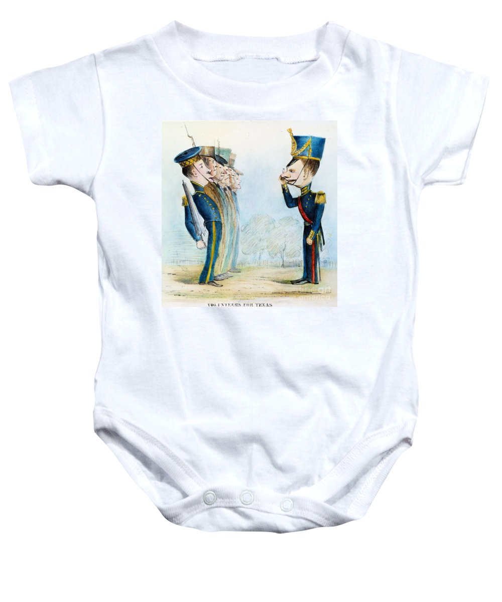 1846 Baby Onesie featuring the painting Cartoon: Mexican War, 1846 by Granger