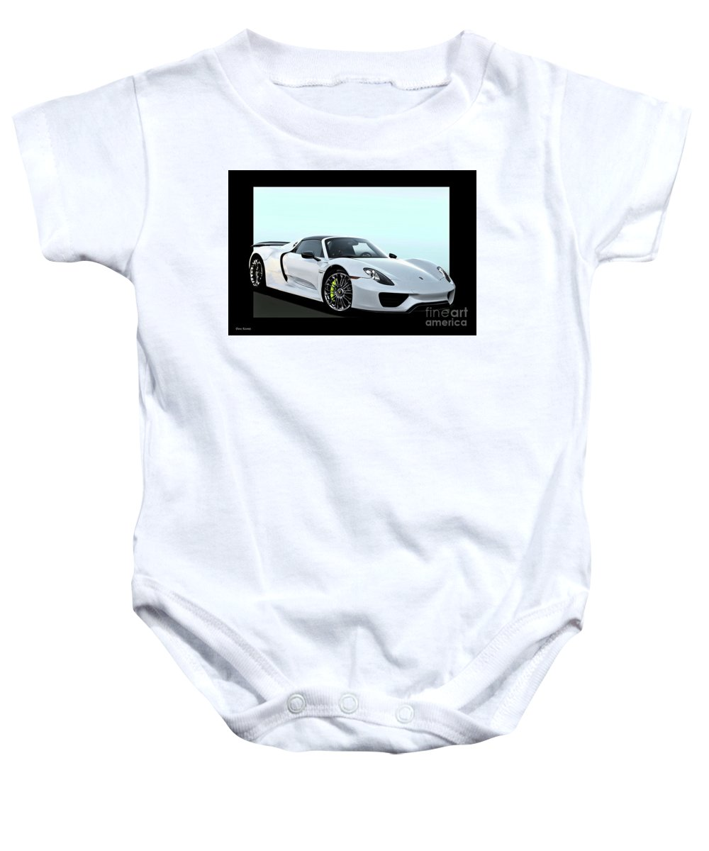 Auto Baby Onesie featuring the photograph 2014 Porsche 918 Spyder II by Dave Koontz