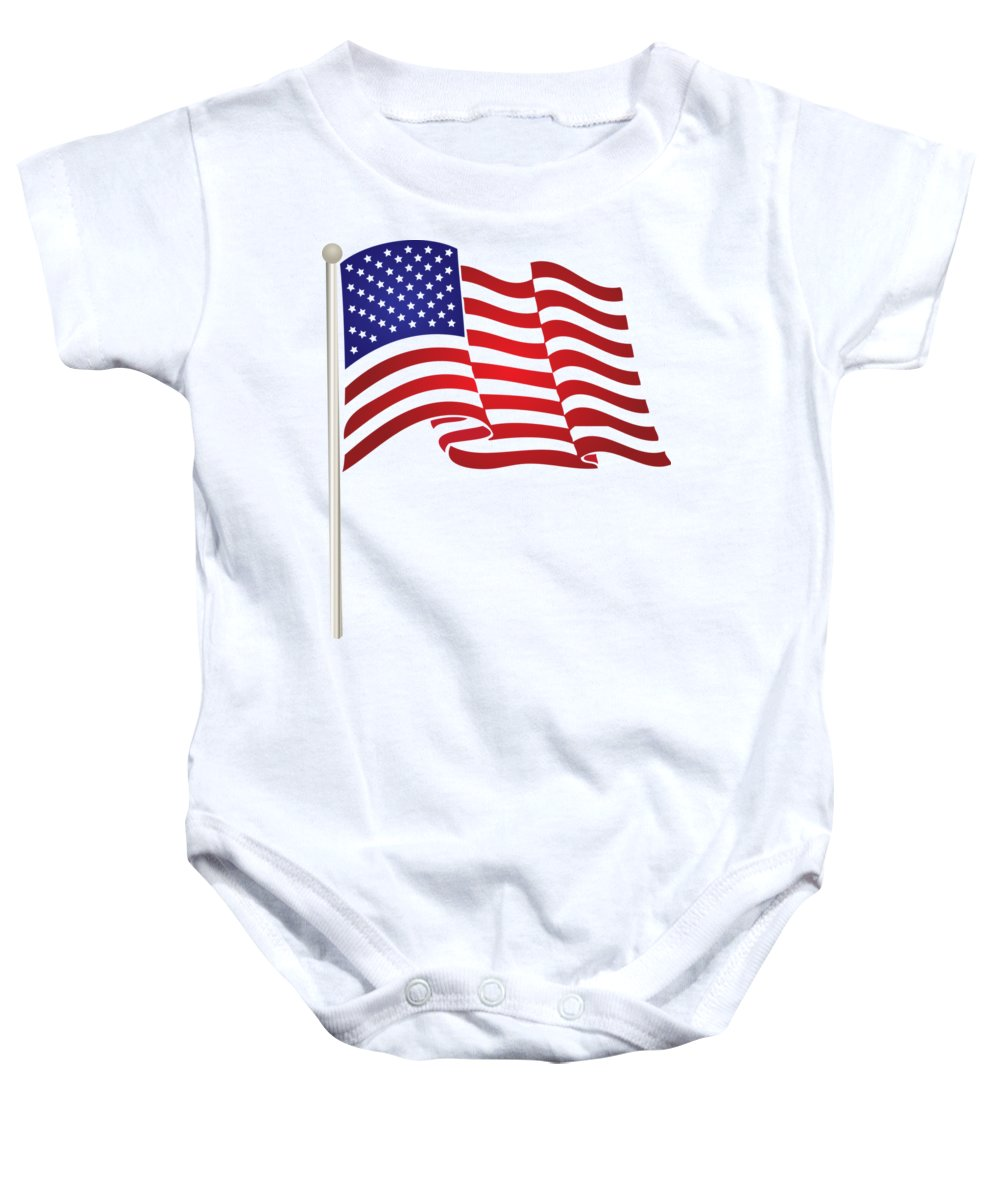 International Baby Onesie featuring the digital art American Flag by Frederick Holiday