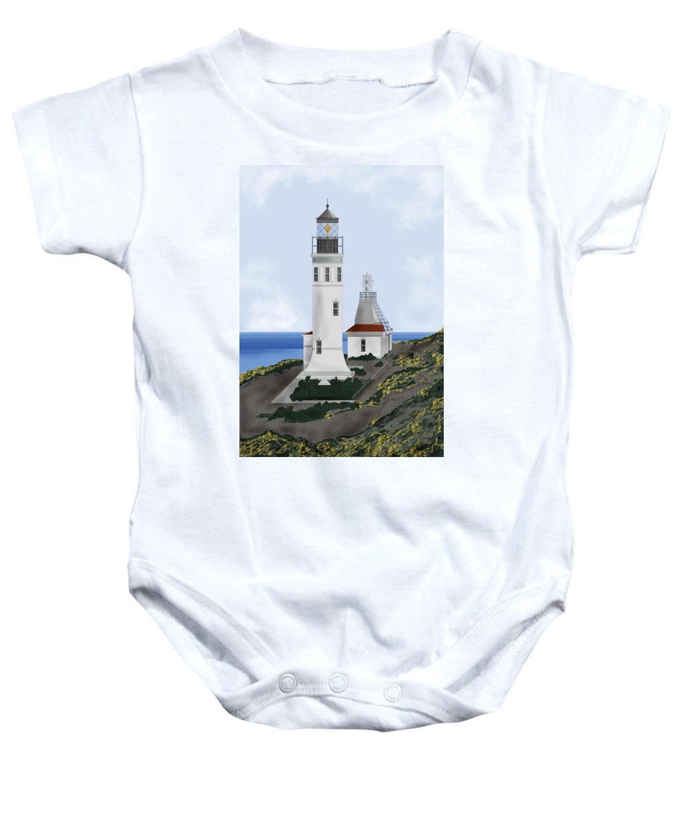 Lighthouse Baby Onesie featuring the painting Anacapa Lighthouse California by Anne Norskog