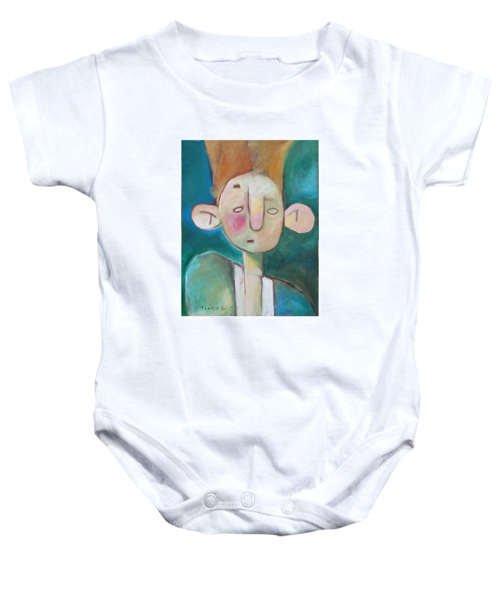 Funny Baby Onesie featuring the painting Bad Hair Life by Tim Nyberg