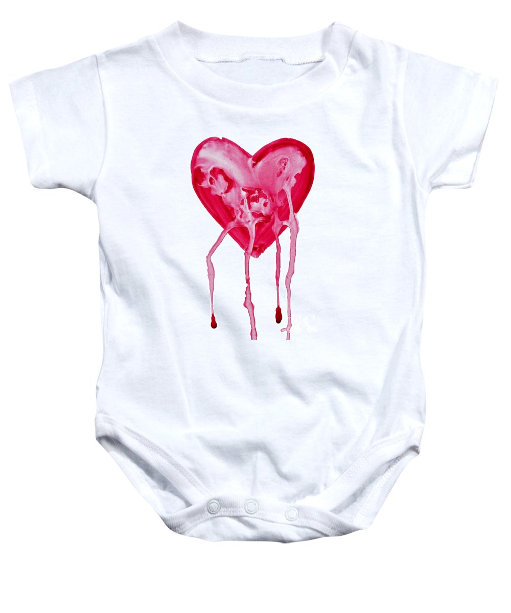 Valentine's Day Baby Onesie featuring the painting Bleeding Heart by Michal Boubin