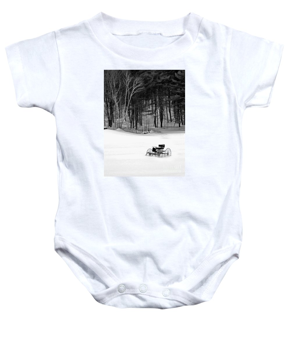 Bradley Baby Onesie featuring the photograph Carriage In A Field Of Snow by Rich Despins