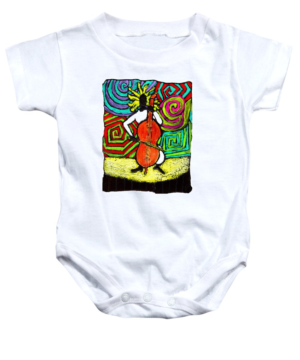 Music Baby Onesie featuring the painting Cello Soloist by Wayne Potrafka