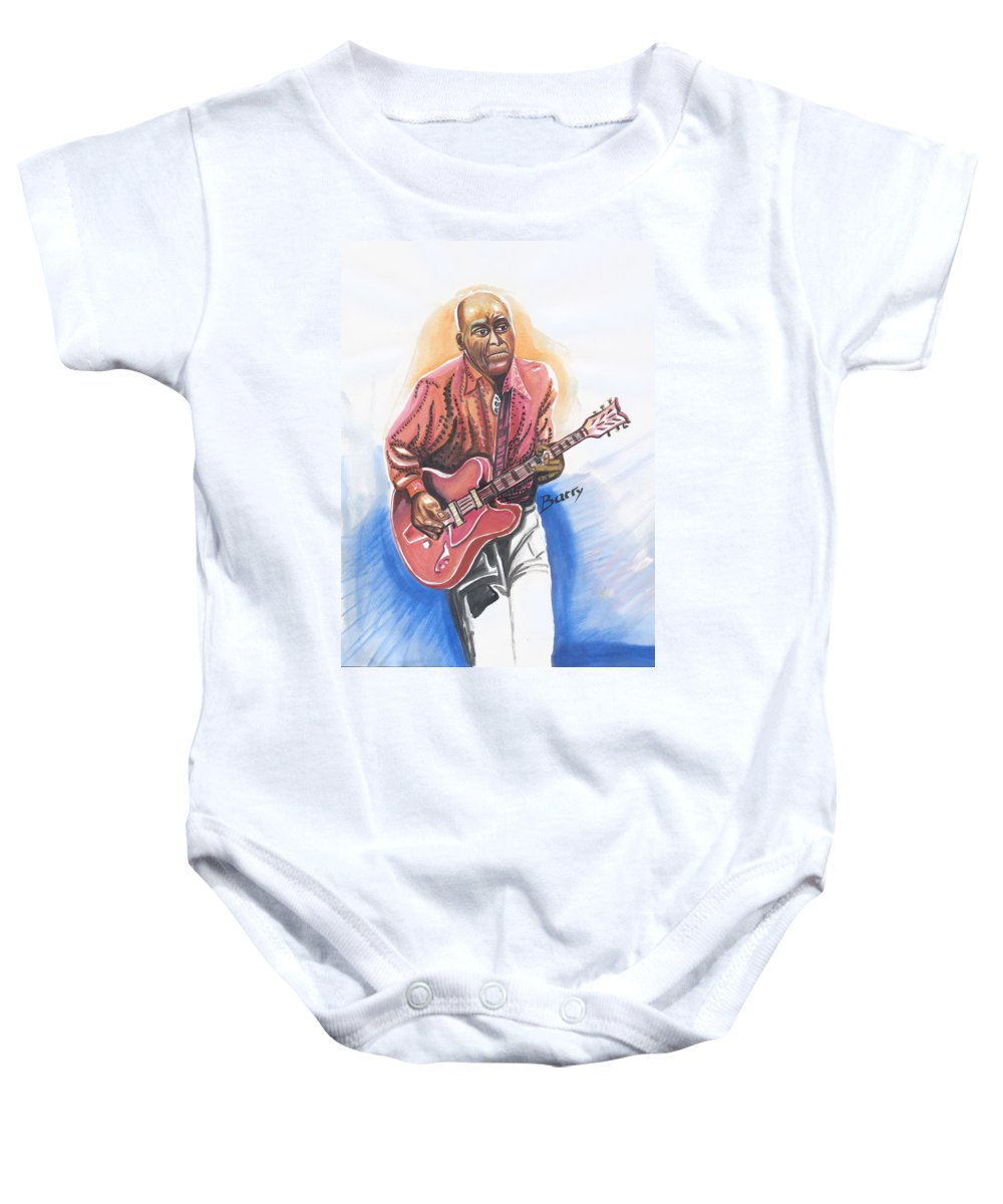 Music Baby Onesie featuring the painting Chuck Berry by Emmanuel Baliyanga