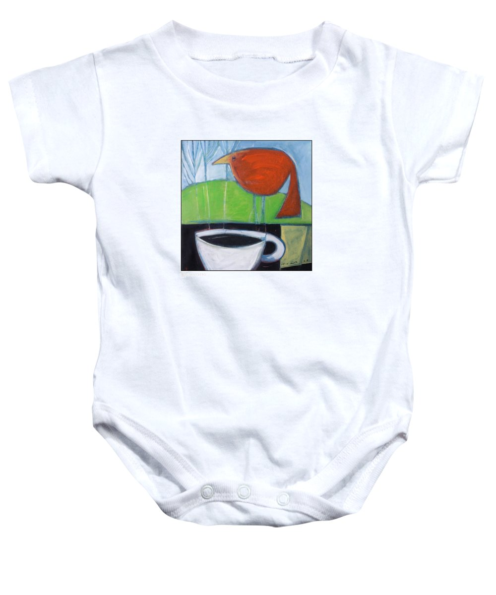 Bird Baby Onesie featuring the painting Coffee With Red Bird by Tim Nyberg