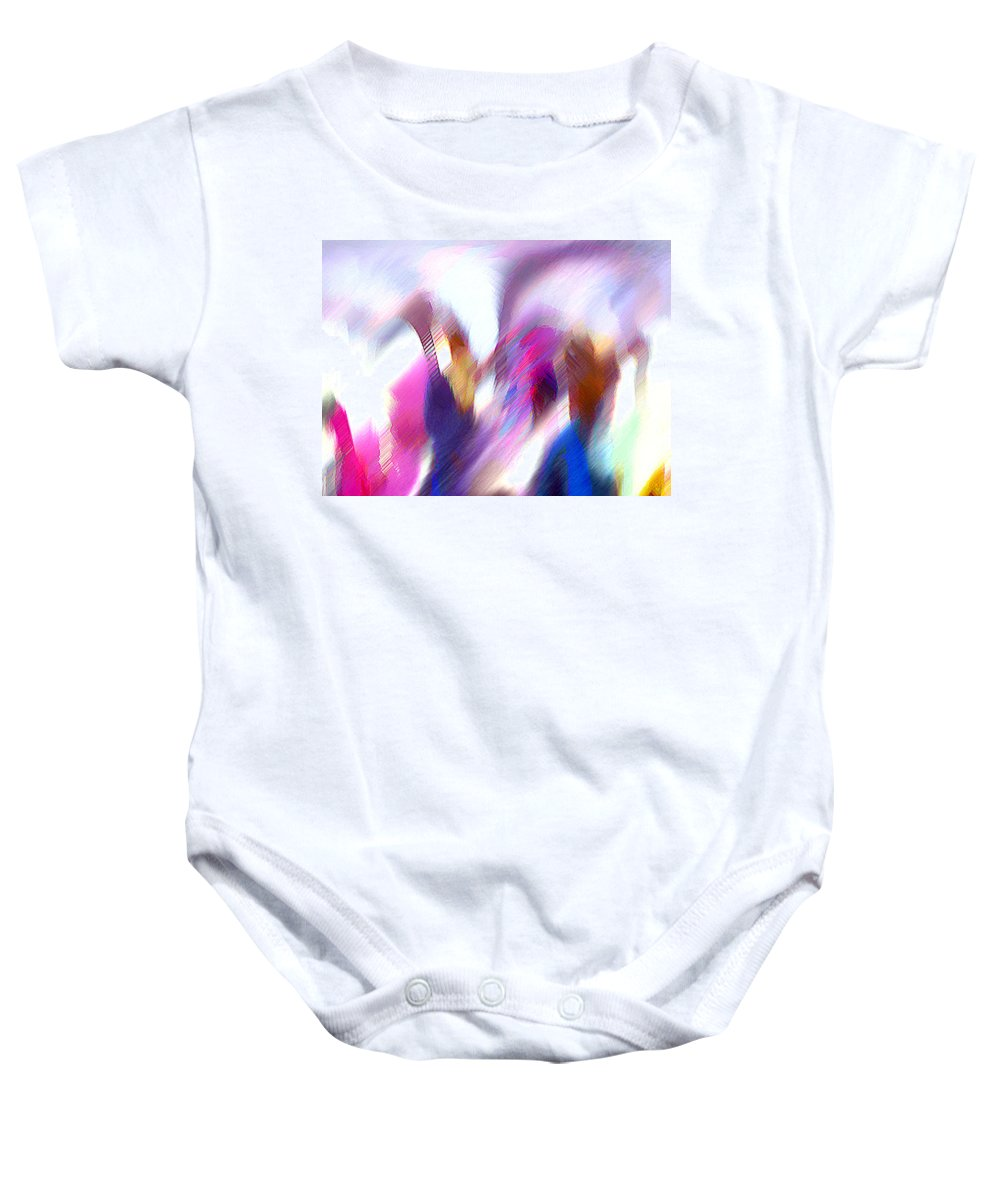 Digital Media Baby Onesie featuring the painting Color Dance by Anil Nene