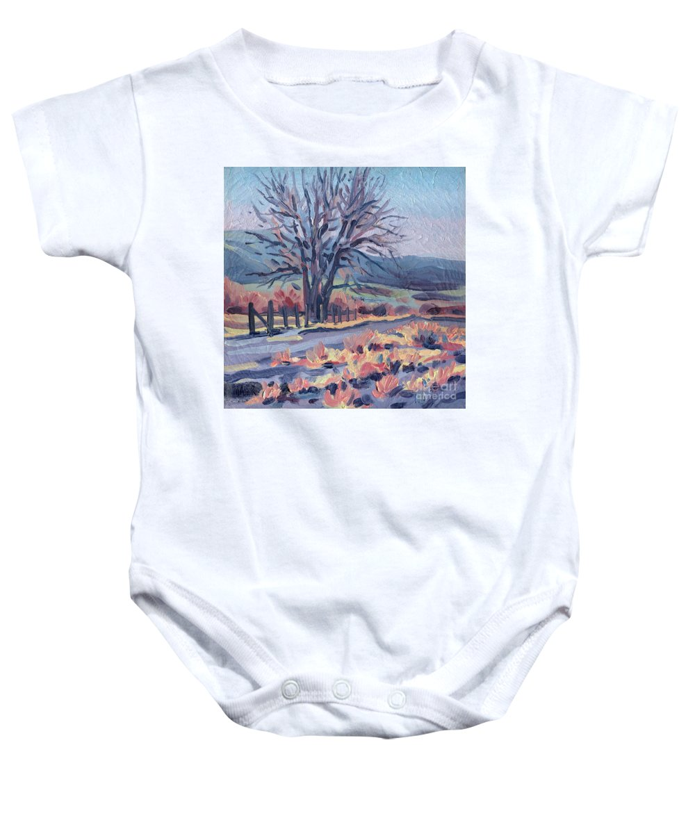 Road Baby Onesie featuring the painting Country Road by Donald Maier