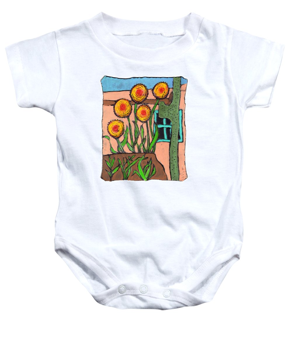 Desert Baby Onesie featuring the painting Desert Fantasy by Wayne Potrafka