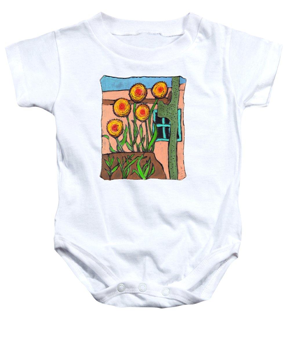 Desert Baby Onesie featuring the painting Desert Fantasy by Wayne Potrafka