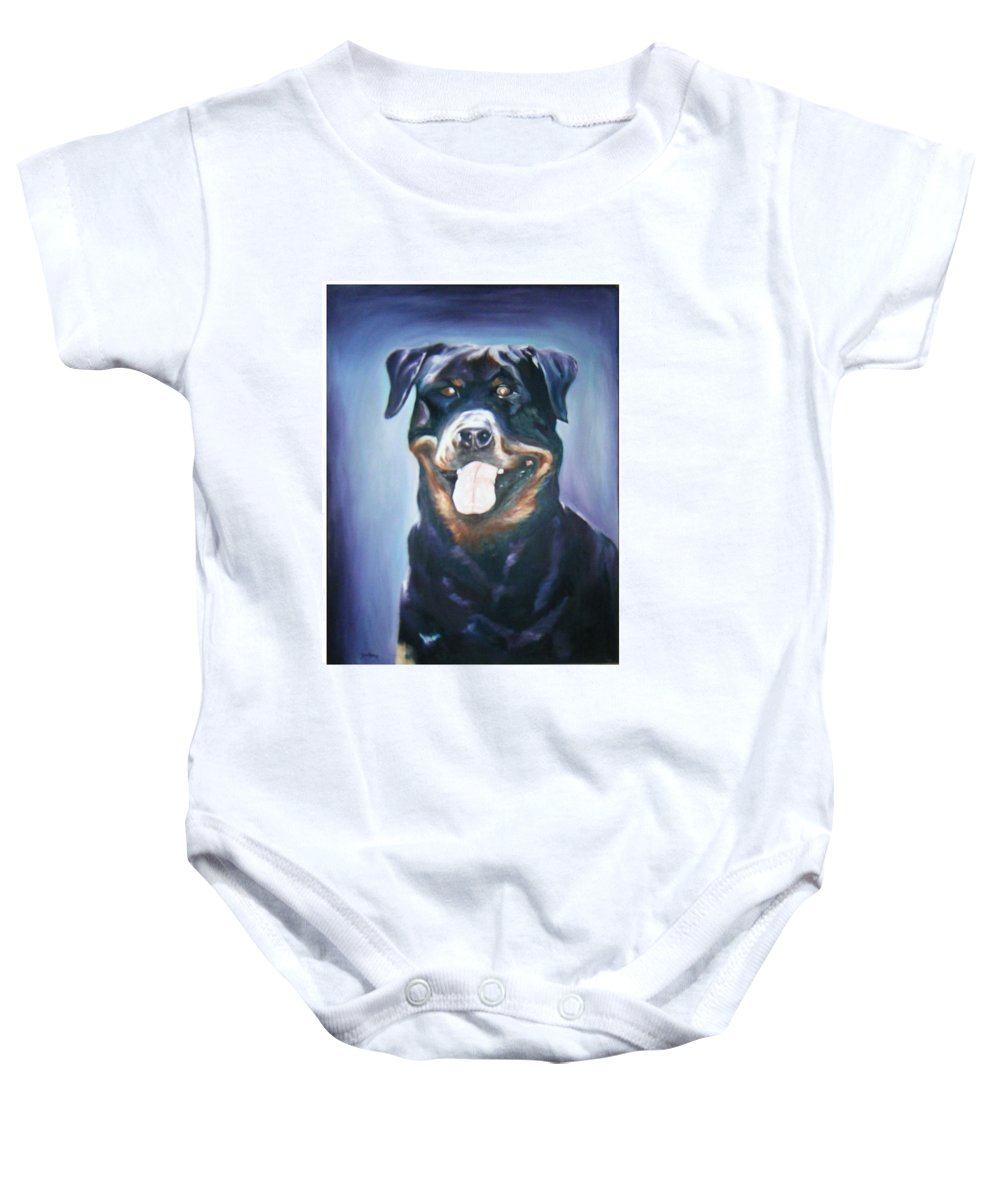 Dog Paintings Baby Onesie featuring the painting Dog by Olaoluwa Smith