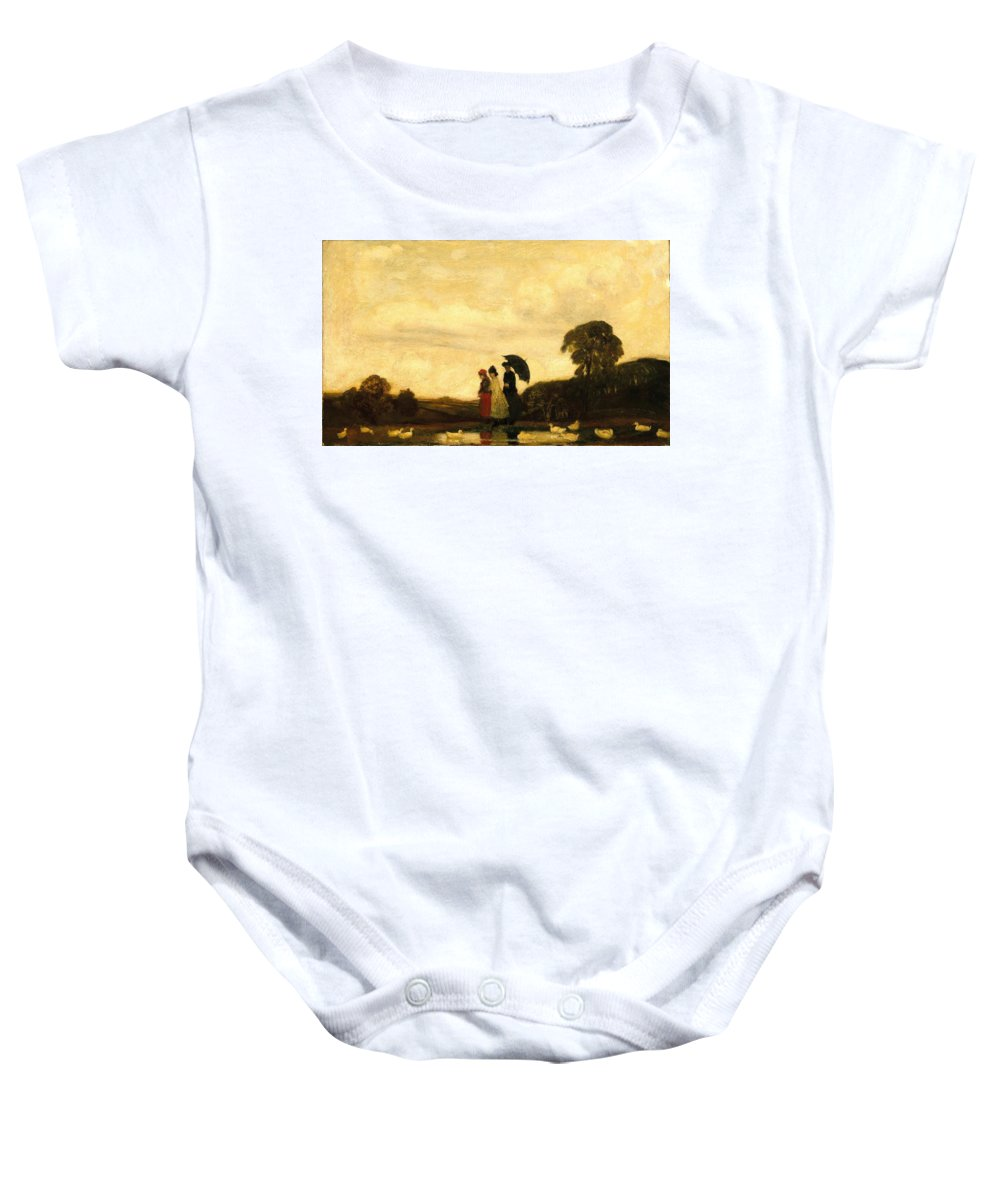 Arthur B. Davies (american Baby Onesie featuring the painting Every Saturday by MotionAge Designs