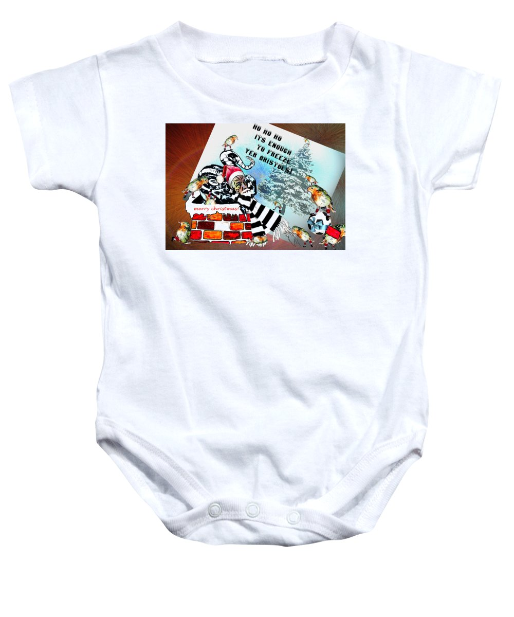 Football Calendar 2009 Derby County Football Club Bristol Artwork Miki Baby Onesie featuring the painting Football Derby Rams Against Bristol Robins by Miki De Goodaboom