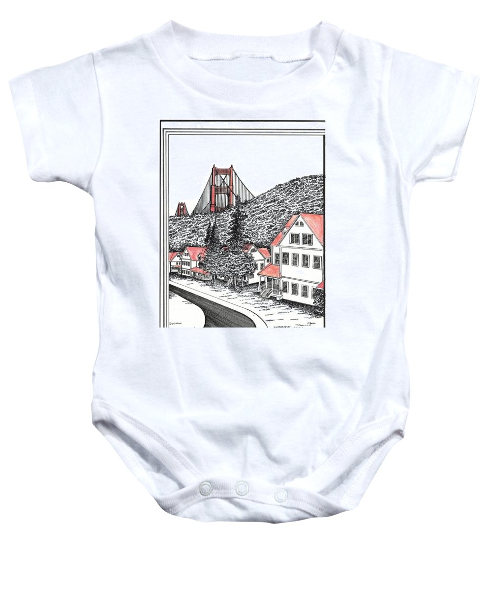 Drawing Baby Onesie featuring the mixed media Fort Baker by Michael Stanford