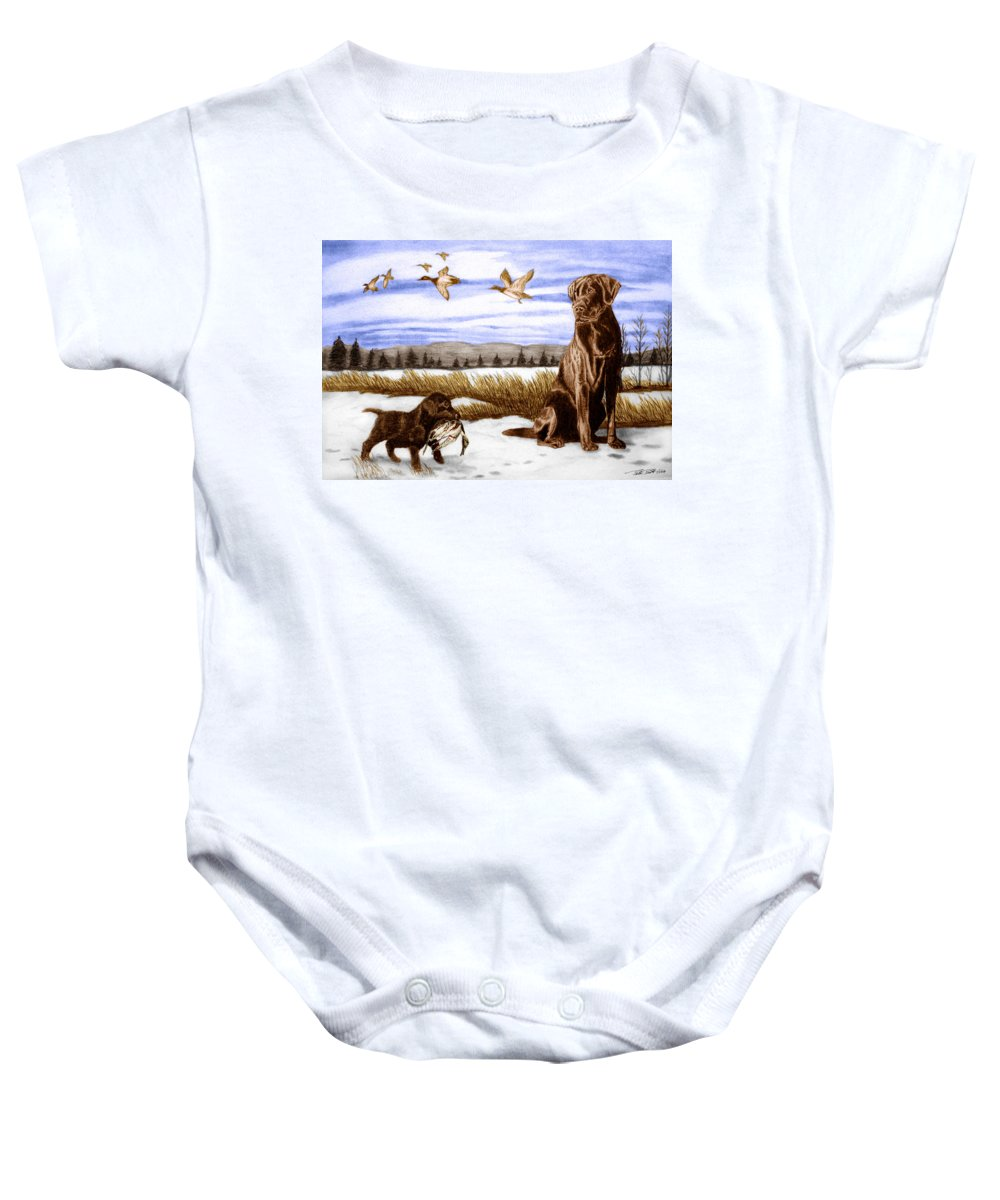 In Training Baby Onesie featuring the drawing In Training by Peter Piatt
