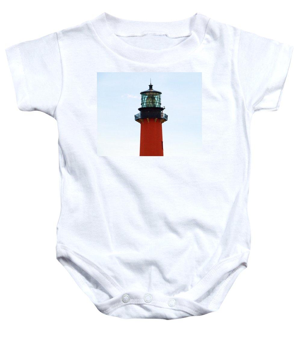 Florida; Juptier; Inlet; Loxahatchee; River; Atlantic; Coast; Shore; Beach; Light; Lighthouse; Beaco Baby Onesie featuring the photograph Jupiter Inlet Florida by Allan Hughes