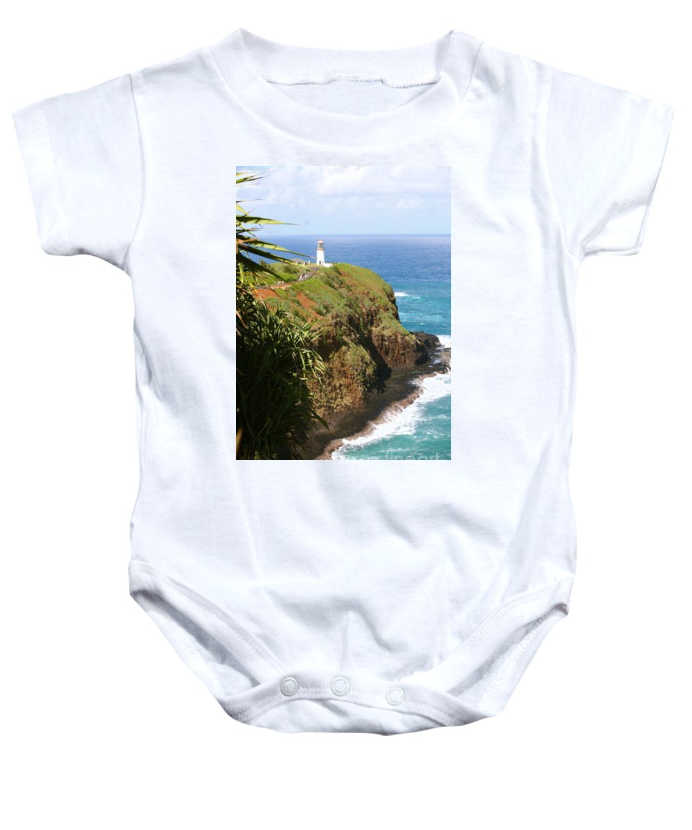 Lighthouse Baby Onesie featuring the photograph Kilauea Lighthouse by Nadine Rippelmeyer