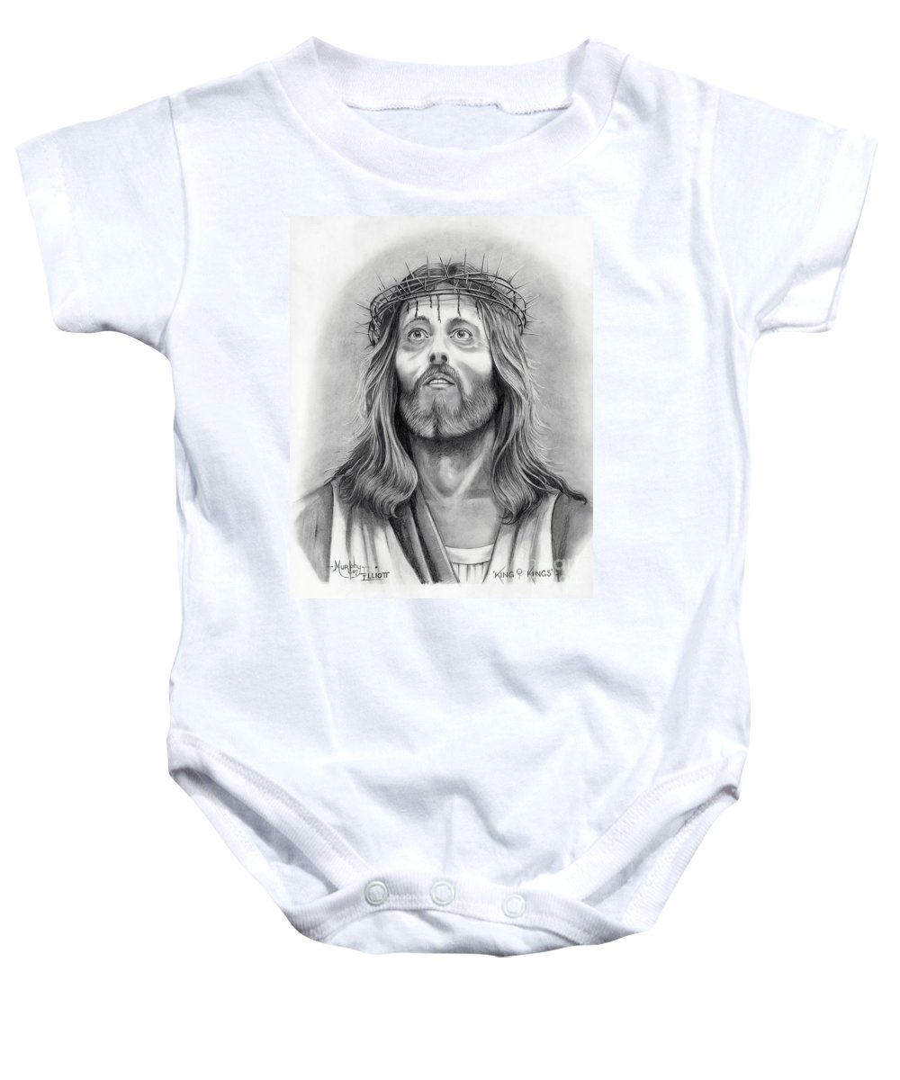 Jesus Christ Baby Onesie featuring the drawing King Of Kings by Murphy Elliott
