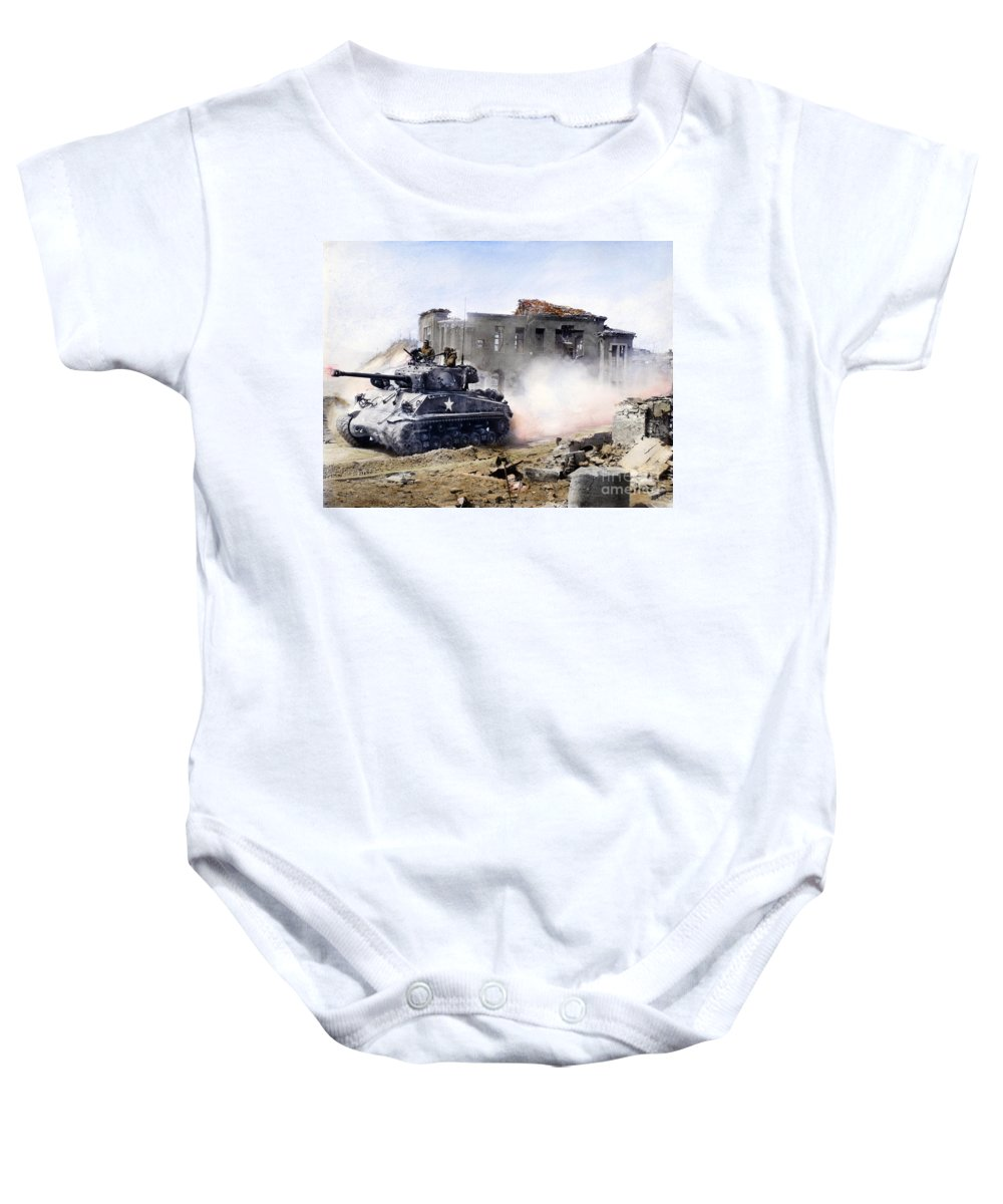 1951 Baby Onesie featuring the photograph Korean War: Tank, 1951 by Granger