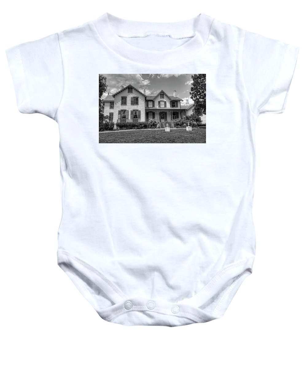 President Lincoln's Cottage Baby Onesie featuring the photograph Lincoln Cottage In Black And White by Craig Fildes