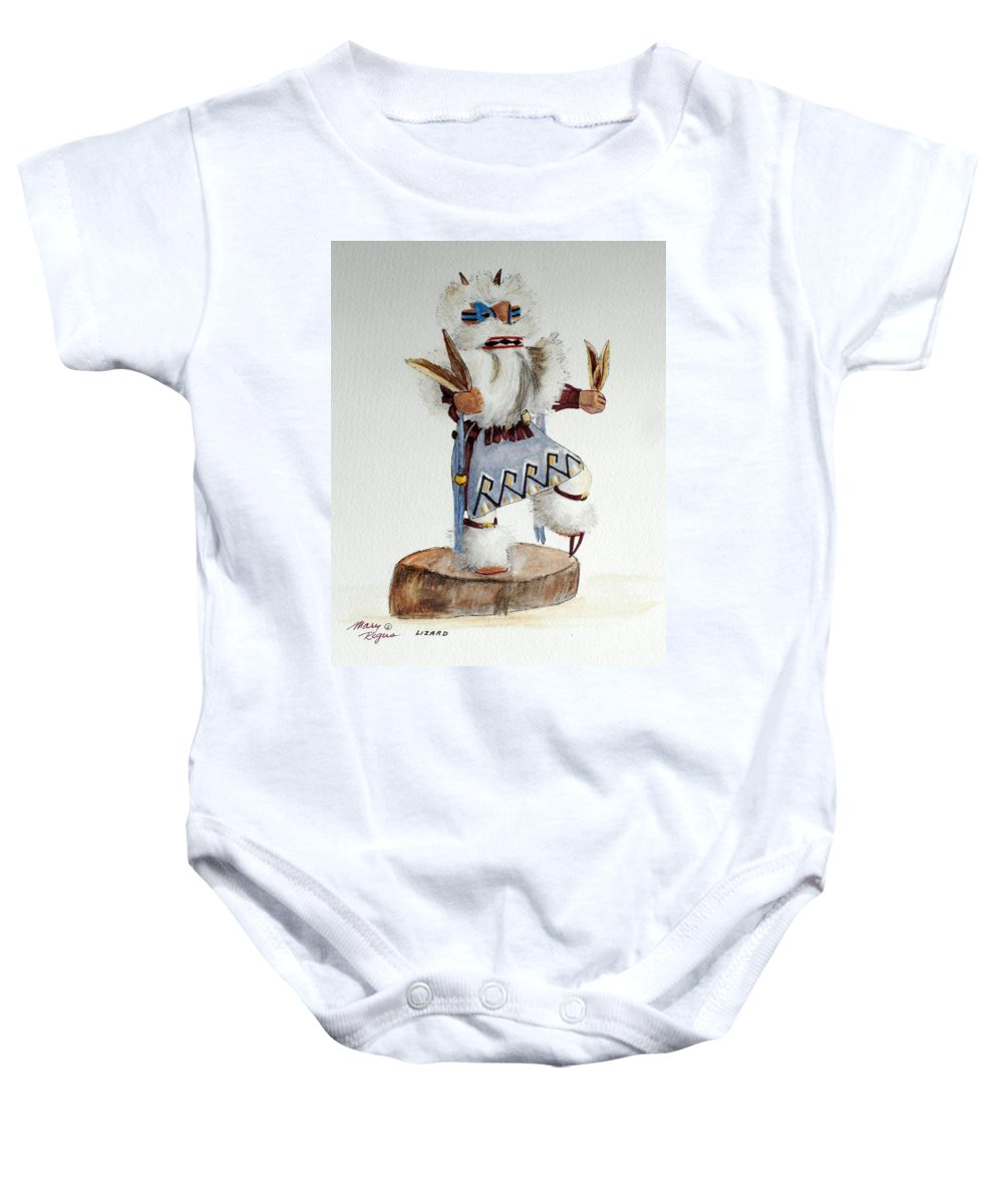 Lizard Baby Onesie featuring the mixed media Lizard by Mary Rogers