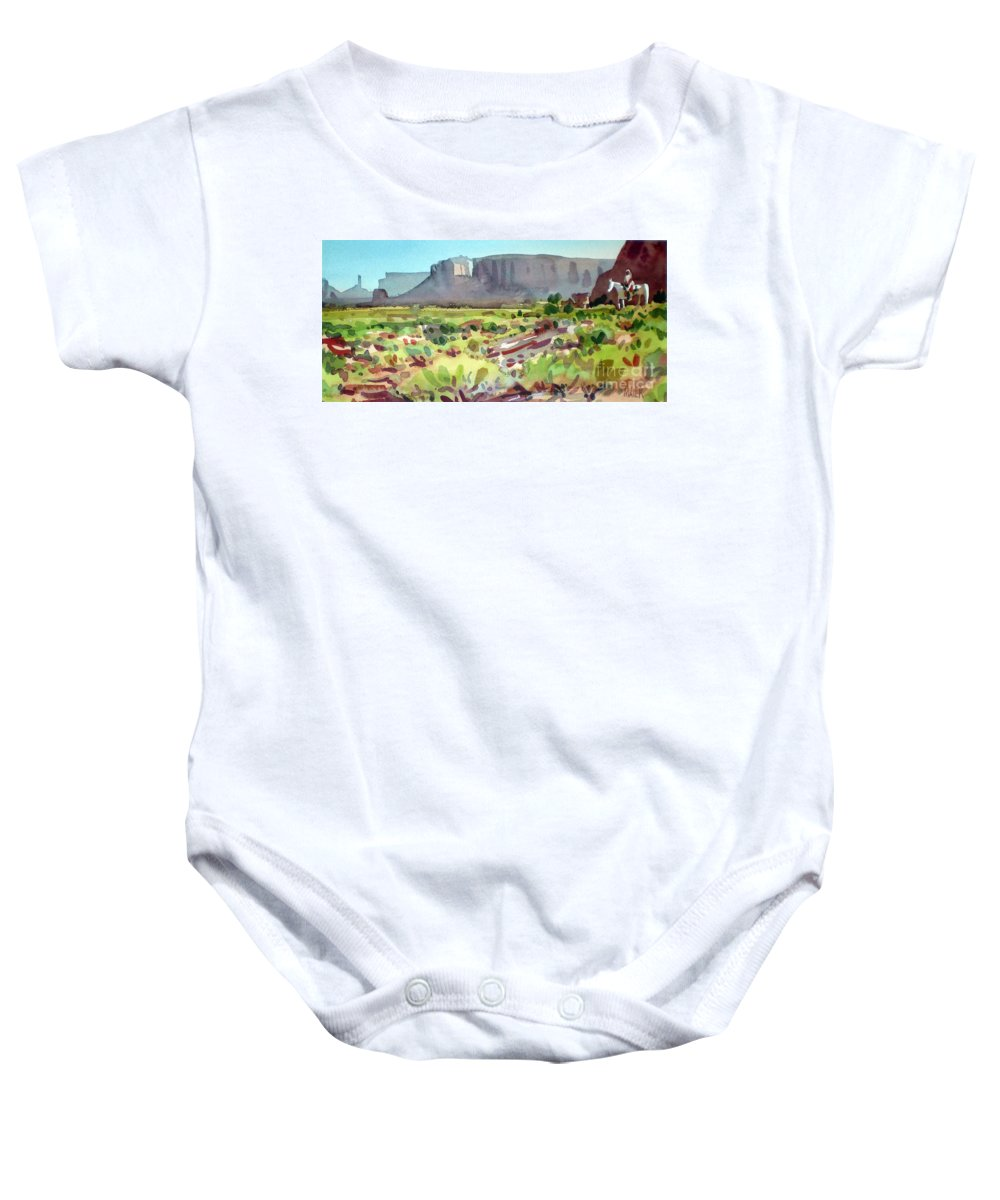 Navajo Baby Onesie featuring the painting Lone Rider by Donald Maier