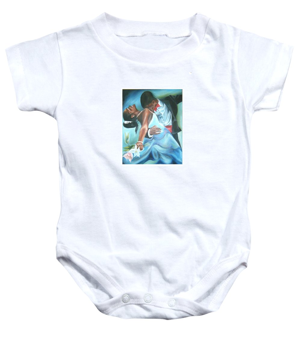 Beautiful Baby Onesie featuring the painting Love Dance by Olaoluwa Smith