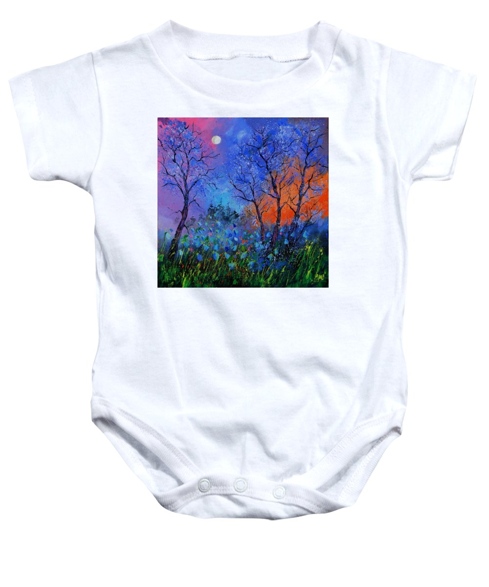 Landscape Baby Onesie featuring the painting Magic wood by Pol Ledent
