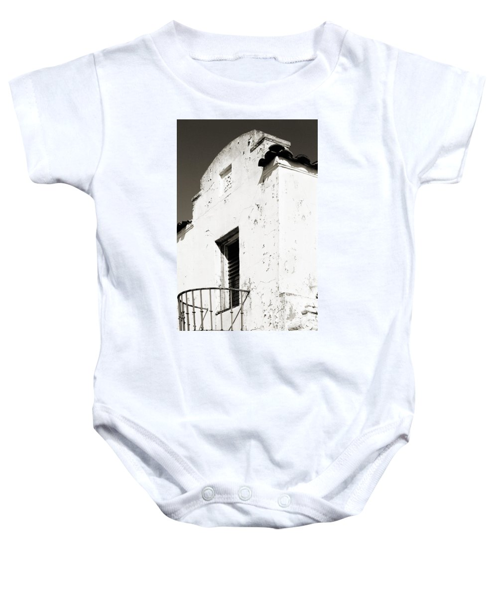 Mission Baby Onesie featuring the photograph Mission Stucco Building by Marilyn Hunt