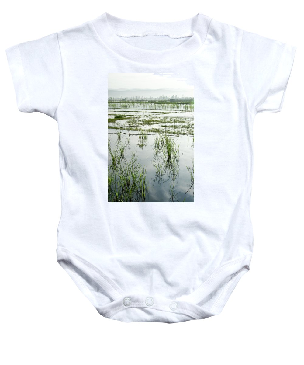 Asia Baby Onesie featuring the photograph Misty Morning In China by Michele Burgess